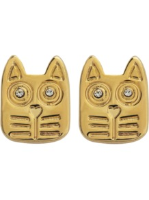Rue Studs Earrings - predominant colour: gold; occasions: casual, evening, work, occasion, holiday; style: stud; length: short; size: small; material: chain/metal; fastening: pierced; finish: metallic; embellishment: crystals