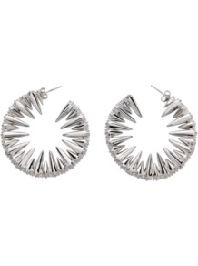 Creole Earrings - predominant colour: silver; occasions: evening, occasion; style: hoop; length: mid; size: standard; material: chain/metal; fastening: pierced; trends: metallics; finish: metallic; embellishment: crystals