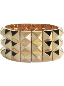 Gold Studded Bracelet - predominant colour: gold; occasions: casual, evening, work, occasion; style: bangle; size: large/oversized; material: chain/metal; finish: metallic; embellishment: studs