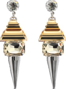 Earrings With Studs - secondary colour: silver; predominant colour: gold; occasions: evening, occasion; style: drop; length: long; size: standard; material: chain/metal; fastening: pierced; trends: metallics; finish: plain; embellishment: jewels