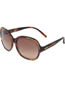 Alysse Cl 2210 Oversized Sunglasses - predominant colour: chocolate brown; occasions: casual, evening, work, occasion, holiday; style: round; size: large; material: plastic/rubber; pattern: tortoiseshell; trends: metallics; finish: plain