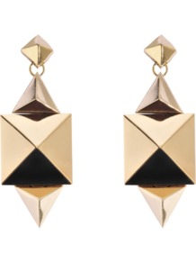 Gold Studded Earrings - predominant colour: gold; occasions: evening, work, occasion; style: drop; length: mid; size: standard; material: chain/metal; fastening: pierced; finish: metallic; embellishment: studs