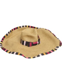 Wide Brim Straw Hat - predominant colour: nude; secondary colour: black; occasions: casual, holiday; type of pattern: standard; style: sunhat; size: large; material: macrame/raffia/straw; embellishment: bow; pattern: striped; trends: striking stripes
