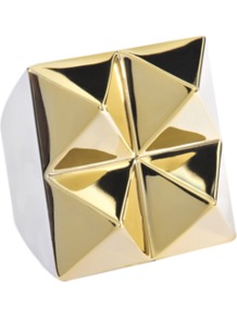 Gold Squared Ring With 4 Studs - predominant colour: gold; occasions: evening, work, occasion, holiday; style: cocktail; size: large/oversized; material: chain/metal; trends: metallics; finish: metallic; embellishment: studs