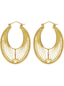 Valeria Earrings - predominant colour: gold; occasions: evening, work, occasion, holiday; style: hoop; length: long; size: large/oversized; material: chain/metal; fastening: pierced; trends: metallics; finish: metallic; embellishment: chain/metal