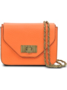 Sally Mini Bag - predominant colour: bright orange; occasions: casual, evening, holiday; type of pattern: standard; style: shoulder; length: across body/long; size: small; material: leather; pattern: plain; finish: plain