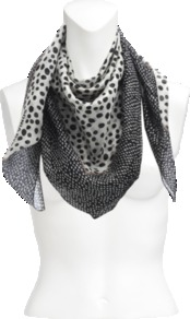 Dots Silk Square - predominant colour: charcoal; secondary colour: mid grey; occasions: casual; type of pattern: standard; style: square; size: standard; material: silk; pattern: polka dot; trends: statement prints