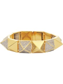 Studded Bracelet In Gold - secondary colour: silver; predominant colour: gold; occasions: evening, work, occasion; style: bangle; size: standard; material: chain/metal; trends: metallics; finish: metallic; embellishment: crystals