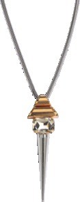 Pyramid And Studs Necklace - predominant colour: silver; occasions: casual, evening, work; style: pendant; length: long; size: large/oversized; material: chain/metal; finish: metallic; embellishment: crystals