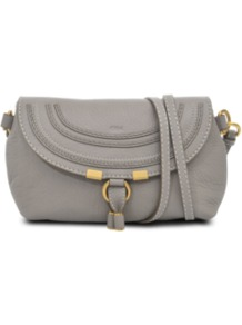 Small Marcie Round Shoulder Bag - predominant colour: charcoal; occasions: casual, evening, work; type of pattern: standard; style: shoulder; length: across body/long; size: small; material: leather; pattern: plain; finish: plain