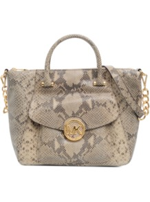 Fulton Leather Bag - predominant colour: taupe; secondary colour: stone; occasions: casual, evening, work, occasion; type of pattern: large; style: tote; length: handle; size: standard; material: leather; pattern: animal print; trends: statement prints; finish: plain; embellishment: chain/metal