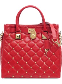 Hamilton Large Studded Leather Bag - predominant colour: true red; occasions: casual, evening, work; type of pattern: small; style: shoulder; length: shoulder (tucks under arm); size: standard; material: leather; embellishment: quilted; pattern: plain; finish: plain