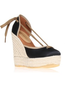 Keates Wedge Espadrille Shoes, Black - predominant colour: black; occasions: casual, evening; material: satin; heel height: high; ankle detail: ankle tie; heel: wedge; toe: round toe; style: courts; finish: plain; pattern: plain