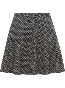 Grey Panel Skirt - length: mid thigh; fit: loose/voluminous; waist: mid/regular rise; predominant colour: charcoal; secondary colour: black; occasions: casual, evening; style: a-line; fibres: polyester/polyamide - stretch; pattern type: fabric; pattern size: standard; pattern: patterned/print; texture group: jersey - stretchy/drapey
