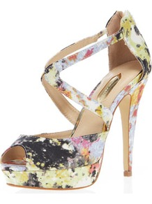 Floral Cross Strap High Sandal - occasions: evening, occasion, holiday; predominant colour: multicoloured; material: fabric; ankle detail: ankle strap; heel: platform; toe: open toe/peeptoe; style: strappy; finish: plain; pattern: animal print; heel height: very high