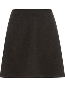 Grey Skater Skirt - pattern: plain; fit: loose/voluminous; waist: mid/regular rise; predominant colour: charcoal; occasions: casual, evening, work; length: just above the knee; style: a-line; fibres: viscose/rayon - stretch; pattern type: fabric; texture group: jersey - stretchy/drapey