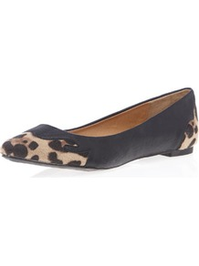 Black And Leopard Western Pump - secondary colour: camel; predominant colour: black; occasions: casual, evening, work, holiday; material: faux leather; heel height: flat; toe: round toe; style: ballerinas / pumps; trends: statement prints; finish: plain; pattern: animal print; embellishment: toe cap