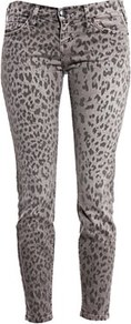 The Stiletto Jean Grey Leopard - style: skinny leg; waist: low rise; pocket detail: traditional 5 pocket; predominant colour: mid grey; occasions: casual, evening; length: ankle length; fibres: cotton - stretch; texture group: denim; pattern type: fabric; pattern size: small &amp; busy; pattern: animal print