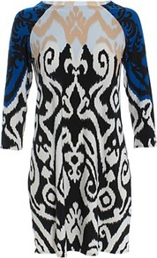 Jasmine Shift Dress Blue - style: shift; length: mid thigh; predominant colour: black; occasions: casual, evening; fit: body skimming; fibres: polyester/polyamide - mix; neckline: crew; sleeve length: 3/4 length; sleeve style: standard; trends: statement prints; pattern type: fabric; pattern size: big & busy; pattern: patterned/print; texture group: other - light to midweight