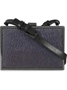 Filippa Chain Mail Box Clutch - predominant colour: charcoal; occasions: evening, occasion; type of pattern: small; style: clutch; length: hand carry; size: small; material: leather; pattern: plain; trends: metallics; finish: metallic; embellishment: chain/metal