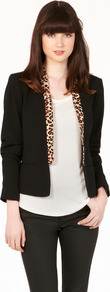 Leopard Collar Blazer - style: single breasted blazer; bust detail: added detail/embellishment at bust; collar: shawl/waterfall; predominant colour: black; occasions: casual, evening, work; length: standard; fit: tailored/fitted; fibres: polyester/polyamide - 100%; waist detail: fitted waist; sleeve length: long sleeve; sleeve style: standard; texture group: crepes; collar break: low/open; pattern type: fabric; pattern size: small &amp; light; pattern: animal print