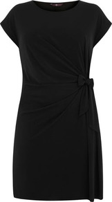 Black Side Tie Dress - style: shift; length: mid thigh; neckline: round neck; sleeve style: capped; pattern: plain; waist detail: twist front waist detail/nipped in at waist on one side/soft pleats/draping/ruching/gathering waist detail; predominant colour: black; occasions: casual, evening, work; fit: body skimming; fibres: polyester/polyamide - stretch; hip detail: ruching/gathering at hip; sleeve length: short sleeve; pattern type: fabric; texture group: jersey - stretchy/drapey