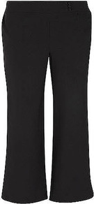 Black Basic Wide Leg Trousers - length: standard; pattern: plain; waist: mid/regular rise; predominant colour: black; occasions: evening, work; fibres: polyester/polyamide - 100%; hip detail: fitted at hip (bottoms); texture group: crepes; fit: wide leg; pattern type: fabric; style: standard
