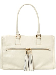 Orla Tote Handbag, Natural - predominant colour: ivory; occasions: casual, evening, work; type of pattern: standard; style: tote; length: handle; size: standard; material: leather; embellishment: tassels; pattern: plain; finish: plain