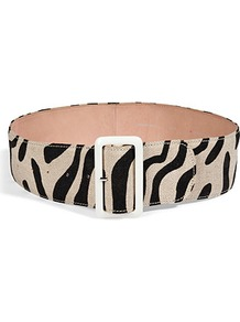 Black/Tan Animal Print Cotton Linen Leather Buckle Trishy Belt - predominant colour: stone; occasions: casual, evening, work; type of pattern: standard; style: classic; size: standard; worn on: waist; material: fabric; pattern: animal print; finish: plain