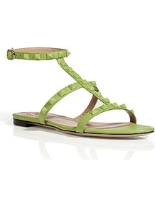 Pop Apple Leather Tonal Rockstud Sandals - predominant colour: lime; occasions: casual, holiday; material: leather; heel height: flat; embellishment: studs; ankle detail: ankle strap; heel: standard; toe: open toe/peeptoe; style: gladiators; finish: plain; pattern: plain