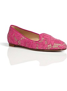 Pink/Nude Lace Overlay Slipper Style Leather Loafers - predominant colour: hot pink; occasions: casual, work; material: lace; heel height: flat; toe: round toe; style: loafers; finish: plain; pattern: patterned/print