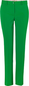 Green Stretch Wool Pants - length: standard; pattern: plain; pocket detail: small back pockets, pockets at the sides; waist: mid/regular rise; predominant colour: emerald green; occasions: casual, evening, work; fibres: wool - stretch; hip detail: fitted at hip (bottoms); waist detail: narrow waistband; fit: slim leg; pattern type: fabric; pattern size: standard; texture group: woven light midweight; style: standard