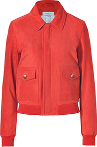 Orange Red Suede Verlan Jacket - pattern: plain; collar: high neck; hip detail: fitted at hip; style: baseball; predominant colour: true red; occasions: casual, evening, work; length: standard; fit: straight cut (boxy); fibres: leather - 100%; sleeve length: long sleeve; sleeve style: standard; collar break: high; pattern type: fabric; pattern size: standard; texture group: suede