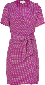 Violet/White Silk Marakas Dress - style: faux wrap/wrap; neckline: low v-neck; waist detail: belted waist/tie at waist/drawstring; predominant colour: magenta; occasions: casual, evening; length: just above the knee; fit: body skimming; fibres: silk - 100%; sleeve length: short sleeve; sleeve style: standard; pattern type: fabric; pattern size: small & busy; pattern: patterned/print