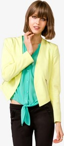 Neon Open Blazer - pattern: plain; style: single breasted blazer; fit: slim fit; collar: standard lapel/rever collar; predominant colour: primrose yellow; occasions: casual, evening, work; length: standard; fibres: polyester/polyamide - mix; waist detail: fitted waist; back detail: shorter hem at back than at front; sleeve length: long sleeve; sleeve style: standard; collar break: low/open; pattern type: fabric; pattern size: standard; texture group: other - stretchy