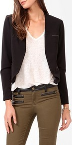 Open Cutaway Jacket - pattern: plain; style: single breasted blazer; collar: shawl/waterfall; fit: slim fit; predominant colour: black; occasions: casual, evening, work, occasion; length: standard; fibres: polyester/polyamide - mix; waist detail: fitted waist; sleeve length: long sleeve; sleeve style: standard; collar break: low/open; pattern type: fabric; pattern size: standard; texture group: other - light to midweight