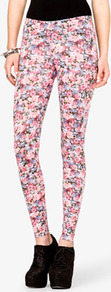 Floral Print Leggings - length: standard; style: leggings; waist detail: elasticated waist; waist: mid/regular rise; occasions: casual, evening, work; fibres: cotton - stretch; hip detail: fitted at hip (bottoms); predominant colour: multicoloured; texture group: jersey - clingy; trends: high impact florals; fit: skinny/tight leg; pattern type: fabric; pattern size: small &amp; busy; pattern: florals