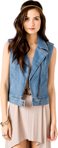 Denim Moto Vest - pattern: plain; sleeve style: sleeveless; style: gilet; shoulder detail: obvious epaulette; collar: asymmetric biker; predominant colour: denim; occasions: casual, work; length: standard; fit: straight cut (boxy); fibres: cotton - stretch; sleeve length: sleeveless; texture group: denim; collar break: medium; pattern type: fabric; pattern size: standard