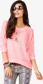 Semi Sheer High Low Sweater - neckline: round neck; sleeve style: dolman/batwing; pattern: plain; style: standard; predominant colour: pink; occasions: casual; length: standard; fibres: polyester/polyamide - 100%; fit: loose; hip detail: dip hem; back detail: longer hem at back than at front; sleeve length: 3/4 length; pattern type: fabric; pattern size: standard; texture group: jersey - stretchy/drapey