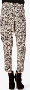 Leopard Print Harem Pants - style: harem/slouch; waist detail: elasticated waist; waist: high rise; predominant colour: chocolate brown; occasions: casual, evening, work; length: ankle length; fibres: polyester/polyamide - 100%; fit: baggy; pattern type: fabric; pattern size: small &amp; busy; pattern: animal print; texture group: other - light to midweight