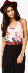 Floral Print Racerback - sleeve style: standard vest straps/shoulder straps; style: vest top; back detail: racer back/sports back; predominant colour: ivory; occasions: casual, evening; length: standard; neckline: scoop; fibres: polyester/polyamide - mix; fit: loose; sleeve length: sleeveless; pattern type: fabric; pattern size: big &amp; light; pattern: florals; texture group: jersey - stretchy/drapey