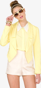 Open Front Pointed Hem Blazer - pattern: plain; style: single breasted blazer; collar: standard lapel/rever collar; predominant colour: primrose yellow; occasions: casual, evening, work; length: standard; fit: tailored/fitted; fibres: polyester/polyamide - mix; waist detail: fitted waist; back detail: shorter hem at back than at front; sleeve length: long sleeve; sleeve style: standard; collar break: low/open; pattern type: fabric; pattern size: standard; texture group: other - light to midweight