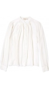 Pleated Detail Collarless Shirt - neckline: shirt collar/peter pan/zip with opening; pattern: plain; style: shirt; bust detail: buttons at bust (in middle at breastbone)/zip detail at bust; predominant colour: ivory; occasions: casual, evening, work; length: standard; fibres: silk - mix; fit: straight cut; shoulder detail: structured/bulky pleats/bulky detail at shoulder; sleeve length: long sleeve; sleeve style: standard; texture group: crepes; pattern type: fabric