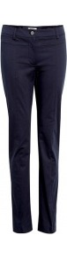 Navy Elese Trousers - length: standard; pattern: plain; waist: mid/regular rise; predominant colour: navy; occasions: casual, evening, work; fibres: cotton - stretch; texture group: cotton feel fabrics; fit: slim leg; pattern type: fabric; style: standard