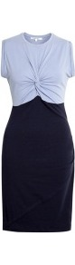 Blue Twist Top Jersey Dress - style: shift; sleeve style: sleeveless; bust detail: knot twist front detail at bust; secondary colour: pale blue; predominant colour: navy; occasions: casual, work; length: just above the knee; fit: body skimming; fibres: cotton - mix; neckline: crew; hip detail: contrast fabric/print detail at hip; sleeve length: sleeveless; pattern type: fabric; pattern size: standard; pattern: colourblock; texture group: jersey - stretchy/drapey
