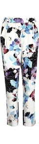 Silk Scrapbook Floral Draped Pocket Trousers3.1 Phillip - length: standard; waist: mid/regular rise; predominant colour: royal blue; secondary colour: black; occasions: evening, work, occasion; fibres: silk - 100%; hip detail: front pleats at hip level; texture group: structured shiny - satin/tafetta/silk etc.; trends: high impact florals, statement prints; fit: slim leg; pattern type: fabric; pattern size: big & busy; pattern: florals; style: standard