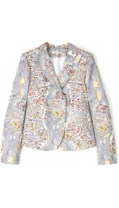Paris Map Print Blazer - style: single breasted blazer; collar: standard lapel/rever collar; occasions: casual, work, occasion; length: standard; fit: straight cut (boxy); fibres: cotton - 100%; predominant colour: multicoloured; sleeve length: long sleeve; sleeve style: standard; texture group: cotton feel fabrics; trends: statement prints; collar break: medium; pattern type: fabric; pattern size: small & busy; pattern: patterned/print