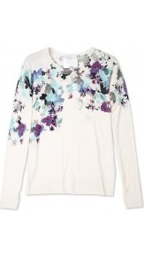 Floral Printed Sweater - neckline: round neck; style: standard; predominant colour: ivory; occasions: casual, work; length: standard; fibres: wool - 100%; fit: standard fit; sleeve length: long sleeve; sleeve style: standard; texture group: knits/crochet; pattern type: knitted - other; pattern size: small & busy; pattern: florals