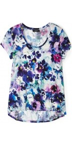 Pansy Print Jersey T Shirt - neckline: round neck; style: t-shirt; predominant colour: royal blue; occasions: casual; length: standard; fibres: polyester/polyamide - stretch; fit: loose; back detail: longer hem at back than at front; sleeve length: short sleeve; sleeve style: standard; trends: high impact florals; pattern type: fabric; pattern size: big & busy; pattern: florals; texture group: jersey - stretchy/drapey