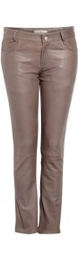 Straight Leg Leather Trousers - pattern: plain; pocket detail: traditional 5 pocket; waist: mid/regular rise; predominant colour: bronze; occasions: casual, evening; length: ankle length; fibres: leather - 100%; waist detail: narrow waistband; texture group: leather; fit: straight leg; pattern type: fabric; style: standard